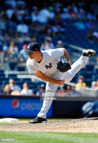 Adam Warren of the New York Yankees in action against the Toronto Blue Jays at Yankee Stadium on July 5 2017 in the Bronx borough of New York City...