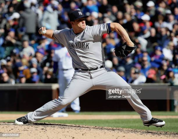 Adam Warren of the New York Yankees pitches against the Chicago Cubs at Wrigley Field on May 5 2017 in Chicago Illinois The Yankees defeated the Cubs...