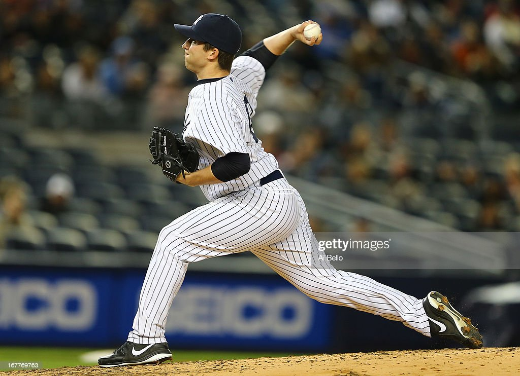 Adam Warren #43 of the New York Yankees pitches against the Houston Astros during their game on April 29, 2013 at Yankee Stadium in the Bronx borough of New York City