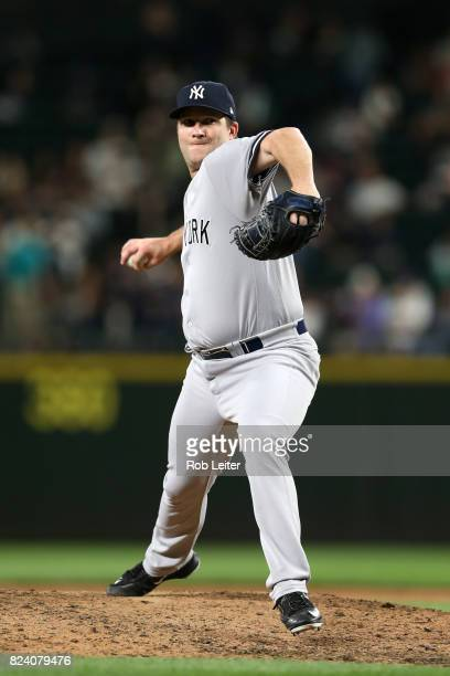 Adam Warren of the New York Yankees pitches during the game against the Seattle Mariners at Safeco Field on July 21 2017 in Seattle Washington The...