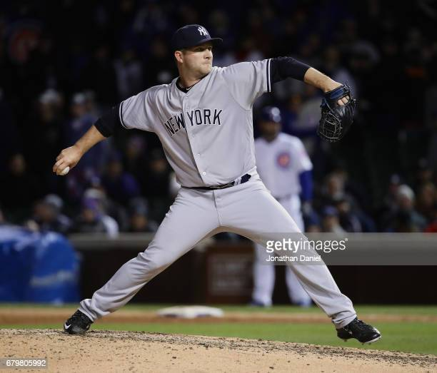 Adam Warren of the New York Yankees pithes in the 9th inning against the Chicago Cubs at Wrigley Field on May 6 2017 in Chicago Illinois The Yankees...