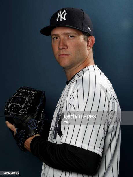 Adam Warren of the New York Yankees poses for a portrait during the New York Yankees photo day on February 21 2017 at George M Steinbrenner Field in...