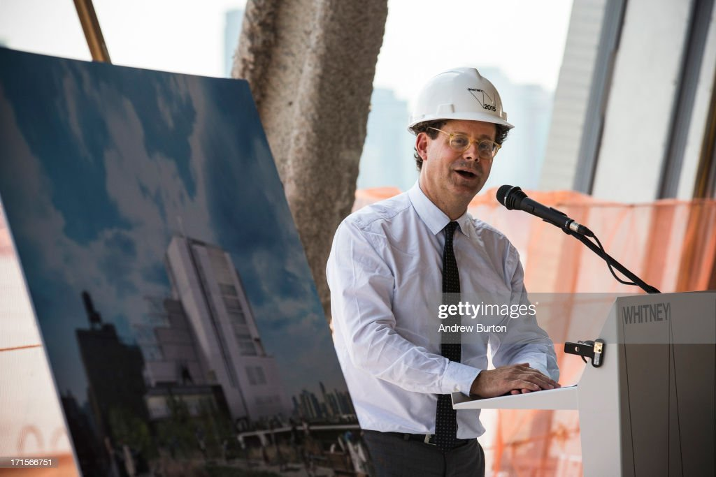 Adam Weinberg, director of the Whitney Museum of American Art, speaks to members of the media at the site of the museum's new building, still under construction, on June 26, 2013 in the Meat Packing District neighborhood of New York City. The museum, which is scheduled to open in 2015, will be nine stories tall and was designed by Renzo Piano Building Workshops. The estimated capital campaign, including building cost, endowments and the increase of instituional capacity, is $760 million.