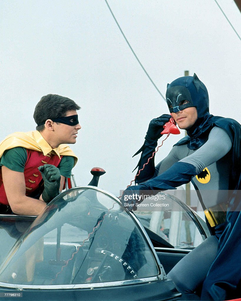 <a gi-track='captionPersonalityLinkClicked' href=/galleries/search?phrase=Adam+West+-+Actor&family=editorial&specificpeople=235413 ng-click='$event.stopPropagation()'>Adam West</a> as Bruce Wayne/Batman and <a gi-track='captionPersonalityLinkClicked' href=/galleries/search?phrase=Burt+Ward&family=editorial&specificpeople=588730 ng-click='$event.stopPropagation()'>Burt Ward</a> as Dick Grayson/Robin in the movie 'Batman', 1966.