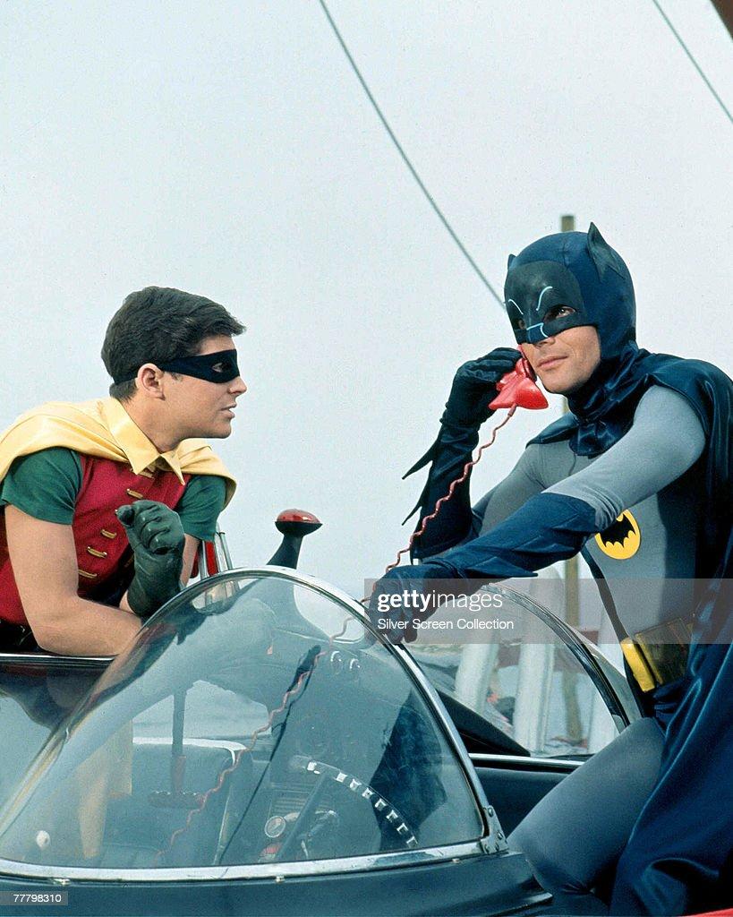 Adam West as Bruce Wayne/Batman and Burt Ward as Dick Grayson/Robin in the movie 'Batman' 1966