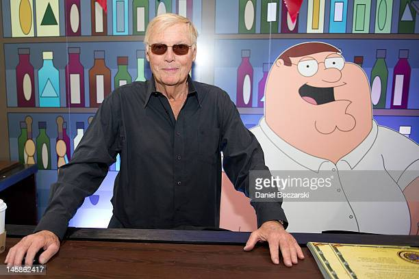 Adam West attends IGN's Drunken Clam booth to promote Family Guy Online during E3 Electronic Entertainment Expo at Los Angeles Convention Center on...