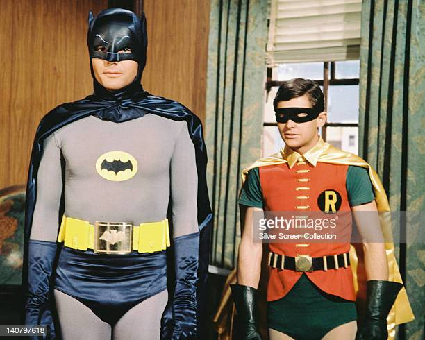 Adam West US actor and Burt Ward US actor both in costume as the 'Dynamic Duo' in a publicity still issued for the television series 'Batman' USA...