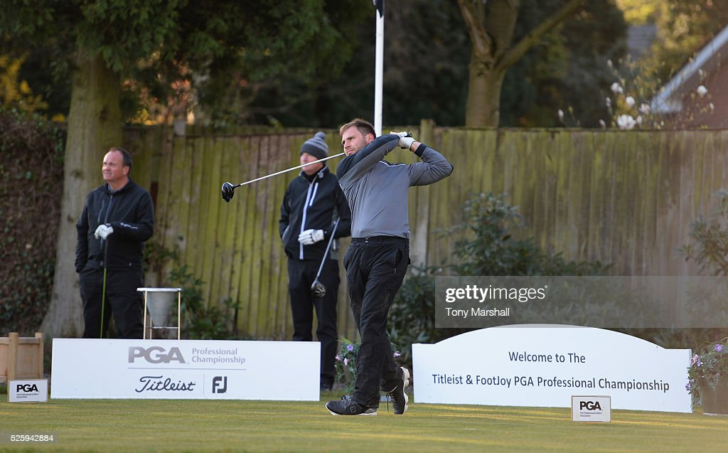 Adam White of Perton Park Golf Club plays his first shot on the 1st tee during the PGA Professional Championship - Midland Qualifier at Little Aston Golf Club on April 29, 2016 in Sutton Coldfield, England.