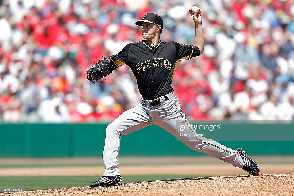 Adam Wilk #71 of the Pittsburgh Pirates throws a pitch in the first inning of a game against the Philadelphia Phillies at Bright House Field on March 16, 2014 in Clearwater, Florida.