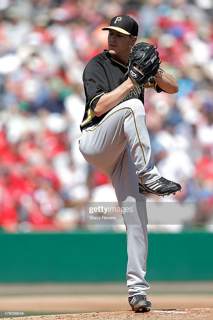 Adam Wilk #71 of the Pittsburgh Pirates throws a pitch in the first inning of a game against the Philadelphia Phillies at Bright House Field on March 16, 2014 in Clearwater, Florida. Pittsburgh won the game 5-0.