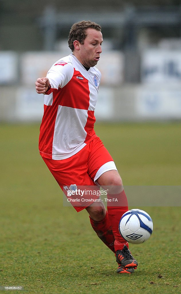 Adam Willis of Barnes Albion attacks during the FA Sunday Cup Semi Final match between Barnes Albion and Upshire at Wheatsheaf Park on March 24, 2013 in Staines, England,