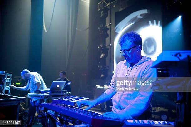 Adam Wren and Neil Barnes of Leftfield performing on stage during sound check at Brixton Academy on April 21 2012 in London United Kingdom