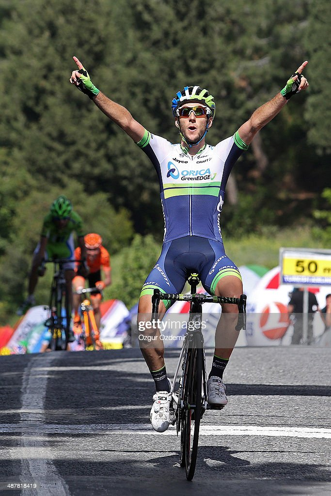 <a gi-track='captionPersonalityLinkClicked' href=/galleries/search?phrase=Adam+Yates+-+Cyclist&family=editorial&specificpeople=14775726 ng-click='$event.stopPropagation()'>Adam Yates</a> of Great Britain and Orica Greenedge celebrates after he crosses the finish line to win the 6th stage of the 50th Presidential Cycling Tour, a 182 km stage between Bodrum to Selcuk on May 2, 2014, in the Eagean resort city of Aydin, Turkey.