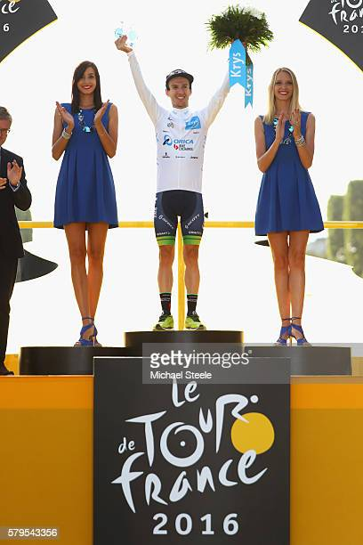 Adam Yates of Great Britain and Orica Greenedge wins the young riders white jersey during stage twenty one of the 2016 Le Tour de France from...