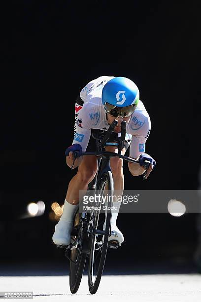 Adam Yates of Great Britain and OricaBikeExchange during the 37km Individual Time Trial stage thirteen of Le Tour de France from BourgSaintAndeol to...