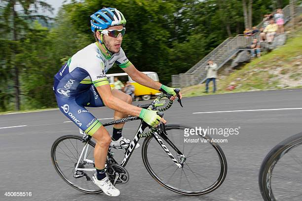 Adam Yates of Great Britain and Team OricaGreenEdge in action during the eighth stage of the Criterium du Dauphine on June 15 2014 between Megeve and...