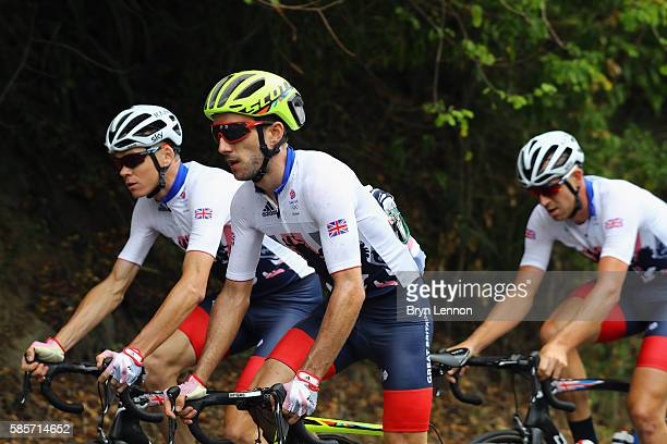 Adam Yates of Team GB and British Cycling rides with Chris Froome during a Team GB training ride on August 3 2016 in Rio de Janeiro Brazil