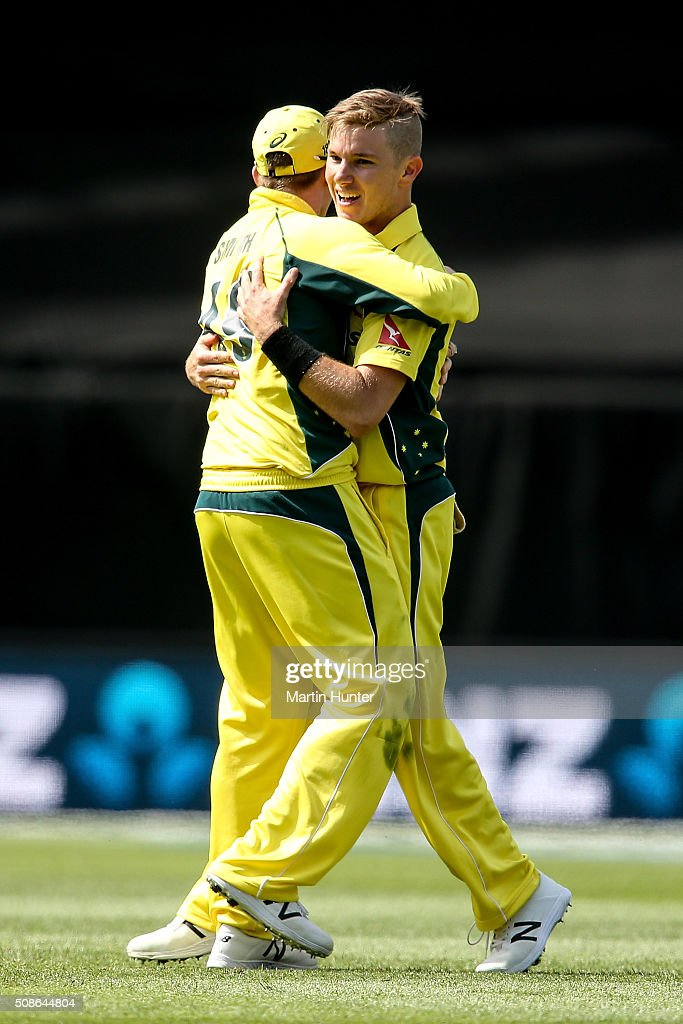 <a gi-track='captionPersonalityLinkClicked' href=/galleries/search?phrase=Adam+Zampa+-+Cricket+Player&family=editorial&specificpeople=15110382 ng-click='$event.stopPropagation()'>Adam Zampa</a> (R) and Steve Smith (L) of Australia celebrate the wicket of Kane Williamson of New Zealand during game two of the one day international series between New Zealand and Australia at Westpac Stadium on February 6, 2016 in Wellington, New Zealand.