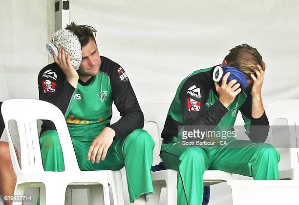 Adam Zampa and Tom Triffitt of the Stars sit in the dugout after colliding in the outfield as Adam Zampa took a catch during the Twenty20 Border Bash...