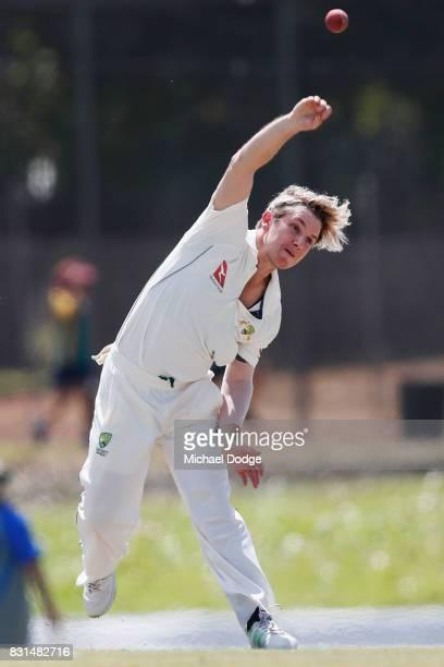 Adam Zampa bowls during day two of the Australian Test cricket intersquad match at Marrara Cricket Ground on August 15 2017 in Darwin Australia