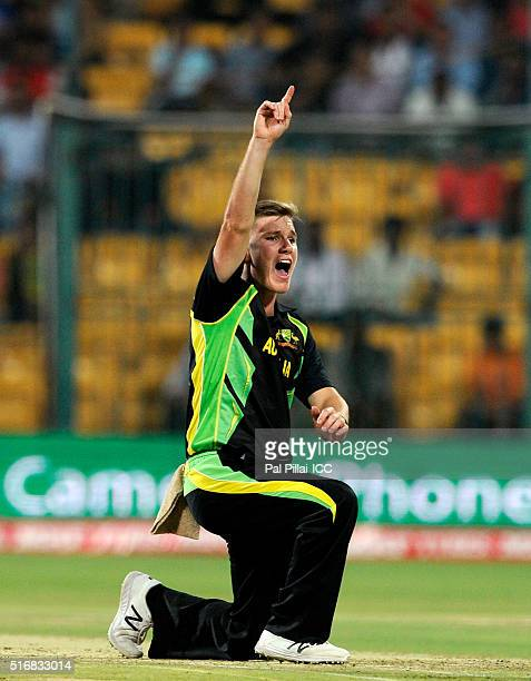 Adam Zampa of Australia appeals unsuccessfully for the wicket of Shuvagata Hom Chowdhury of Bangladesh during the ICC World Twenty20 India 2016 match...