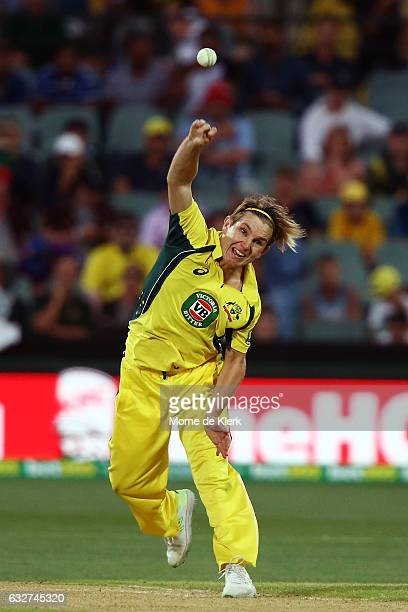 Adam Zampa of Australia bowls during game five of the One Day International series between Australia and Pakistan at Adelaide Oval on January 26 2017...