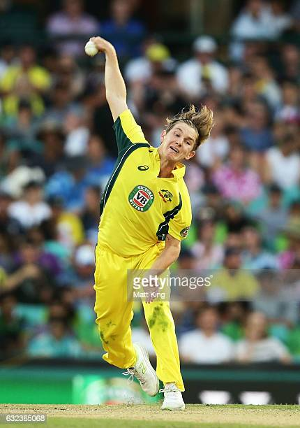 Adam Zampa of Australia bowls during game four of the One Day International series between Australia and Pakistan at Sydney Cricket Ground on January...