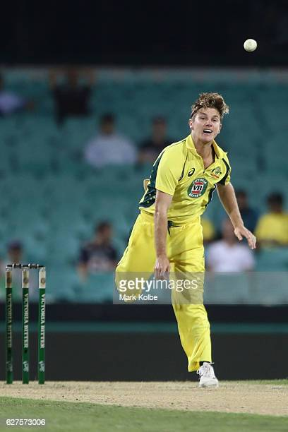 Adam Zampa of Australia bowls during game one of the One Day International series between Australia and New Zealand at Sydney Cricket Ground on...