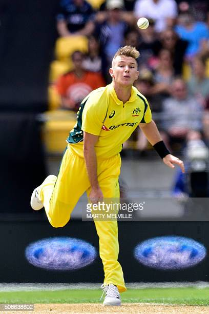 Adam Zampa of Australia bowls during the 2nd oneday international cricket match between New Zealand and Australia at Westpac Stadium in Wellington on...