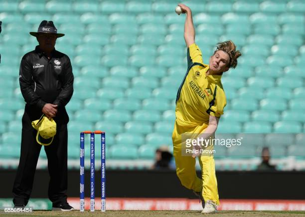 Adam Zampa of Australia bowls during the ICC Champions Trophy Warmup match between Australia and Sri Lanka at the Kia Oval cricket ground on May 26...