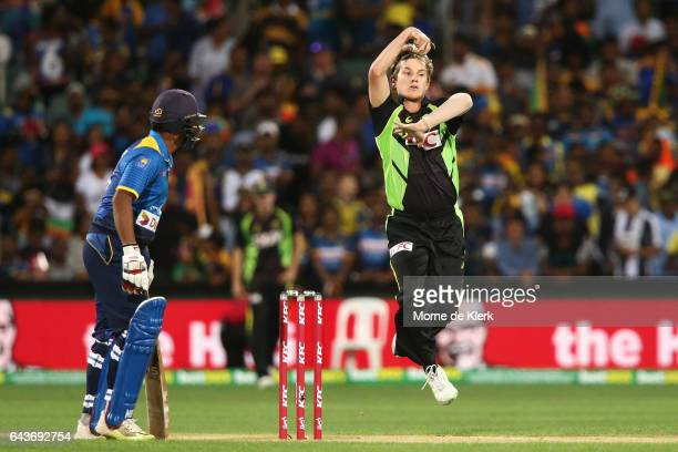Adam Zampa of Australia bowls during the International Twenty20 match between Australia and Sri Lanka at Adelaide Oval on February 22 2017 in...