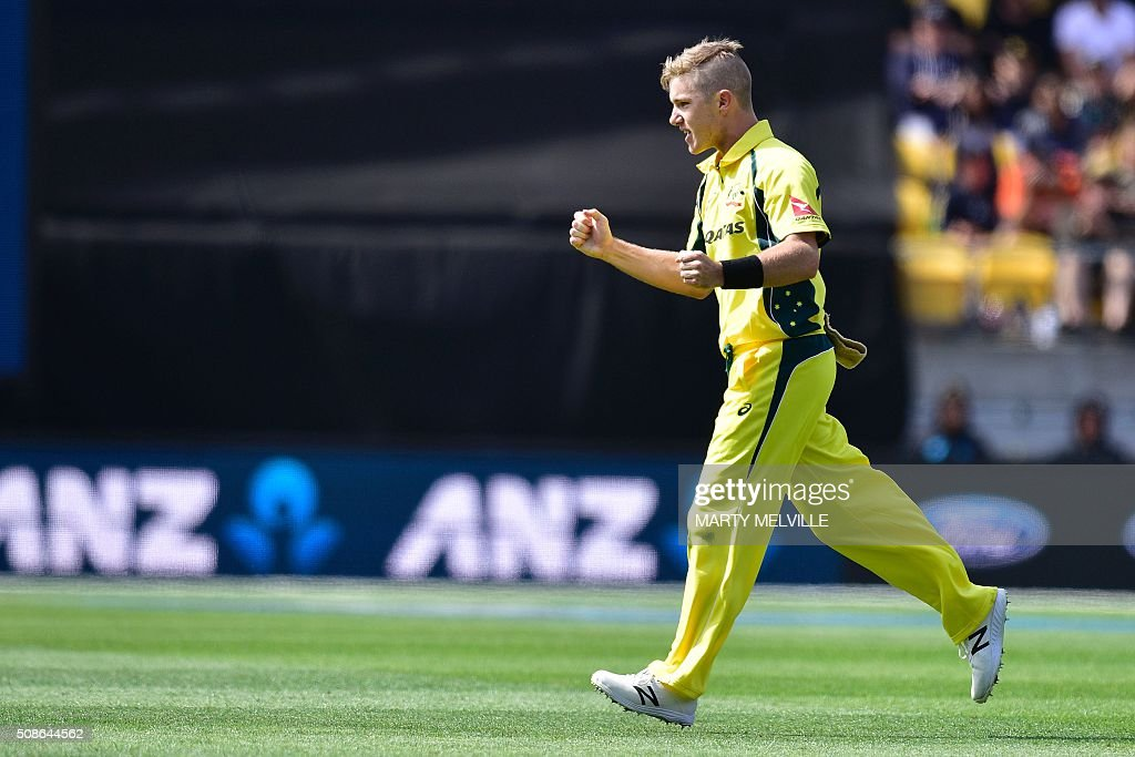 Adam Zampa of Australia celebrates Kane Williamson of New Zealand being caught during the 2nd one-day international cricket match between New Zealand and Australia at Westpac Stadium in Wellington on February 6, 2016. AFP PHOTO / MARTY MELVILLE / AFP / Marty Melville