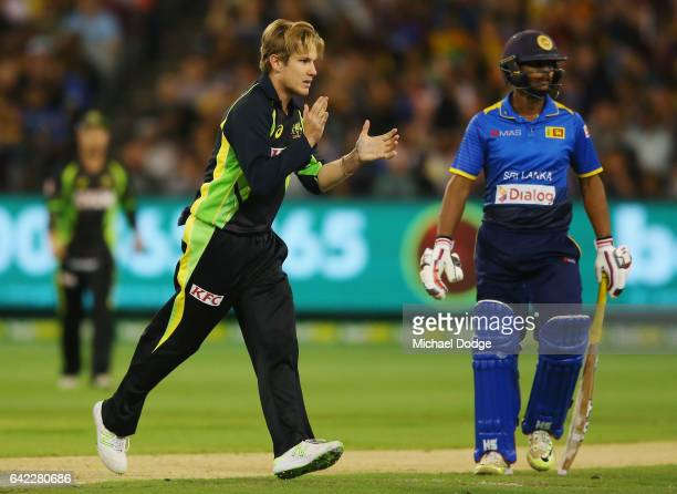 Adam Zampa of Australia celebrates the wicket of Dilshan Munaweera of Sri Lanka during the first International Twenty20 match between Australia and...