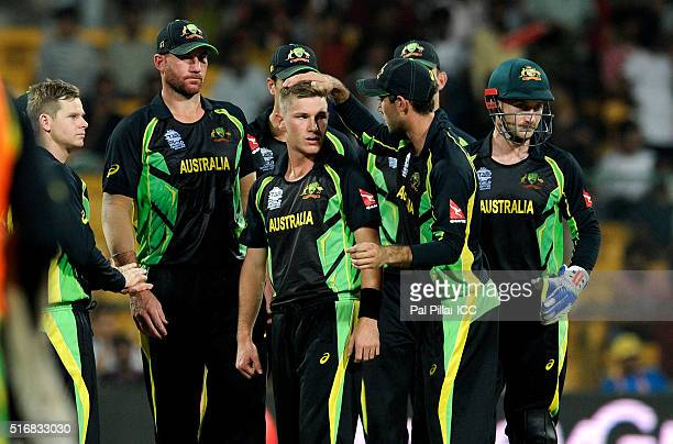 Adam Zampa of Australia celebrates the wicket of Shuvagata Hom Chowdhury of Bangladesh during the ICC World Twenty20 India 2016 match between...