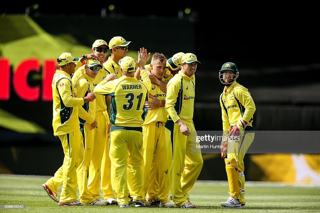 <a gi-track='captionPersonalityLinkClicked' href=/galleries/search?phrase=Adam+Zampa+-+Cricketspeler&family=editorial&specificpeople=15110382 ng-click='$event.stopPropagation()'>Adam Zampa</a> of Australia celebrates with team mates the wicket of Kane Williamson of New Zealand during game two of the one day international series between New Zealand and Australia at Westpac Stadium on February 6, 2016 in Wellington, New Zealand.