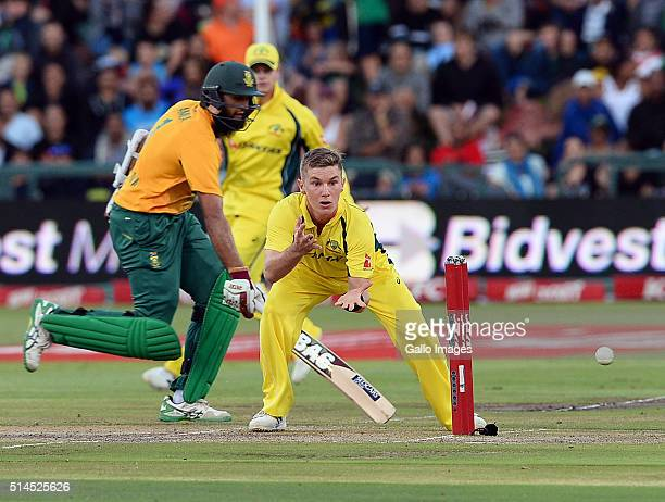 Adam Zampa of Australia in action during the 3rd KFC T20 International match between South Africa and Australia at PPC Newlands on March 09 2016 in...