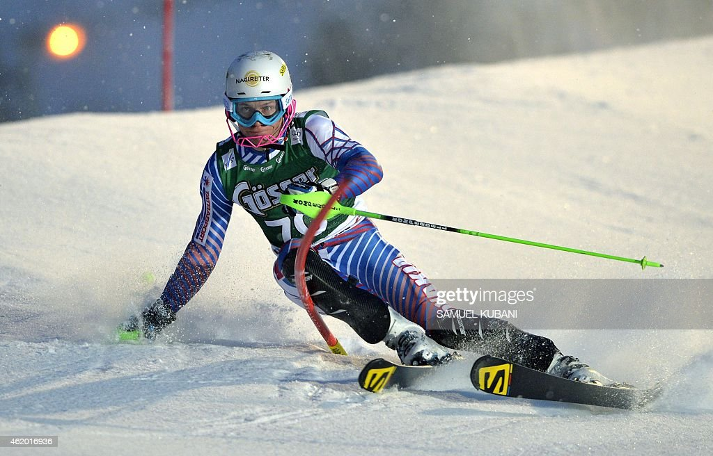 Adam Zampa of Slovakia competes during men's Alpine Combined Slalom of the FIS Alpine Skiing World Cup in Kitzbuehel, Austria, on January 23, 2015.