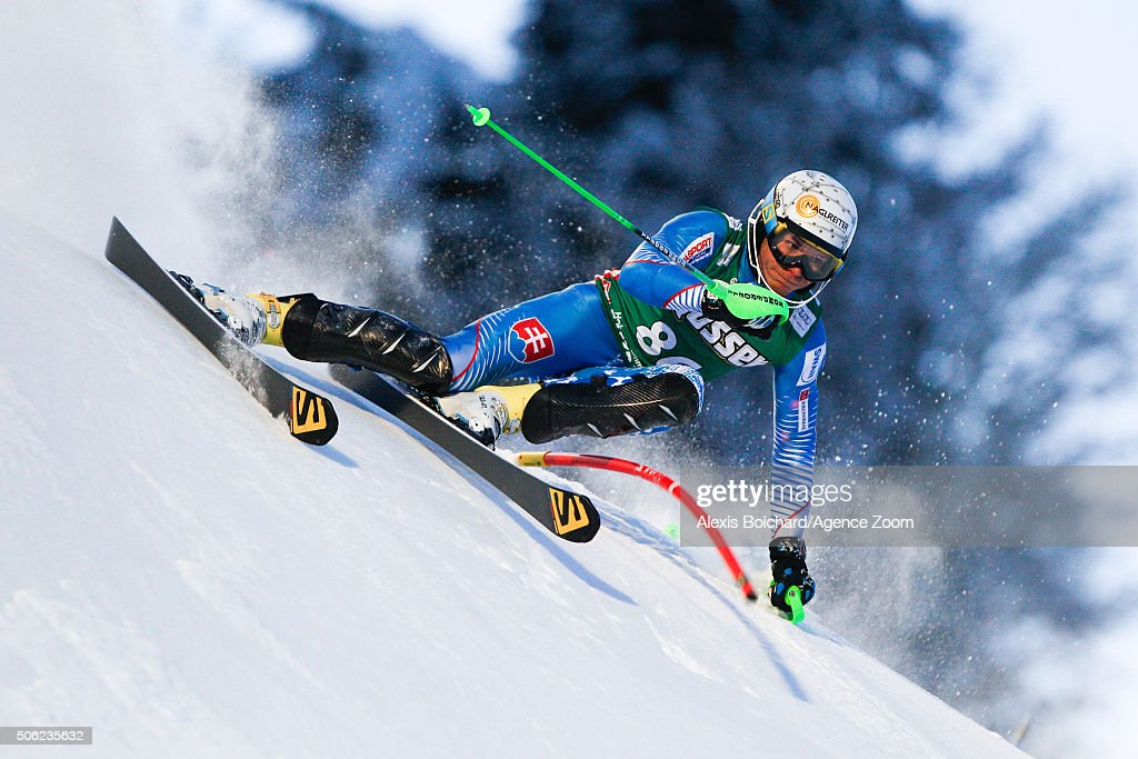 Adam Zampa of Slovakia competes during the Audi FIS Alpine Ski World Cup Men's Super Combined on January 22, 2016 in Kitzbuehel, Austria.