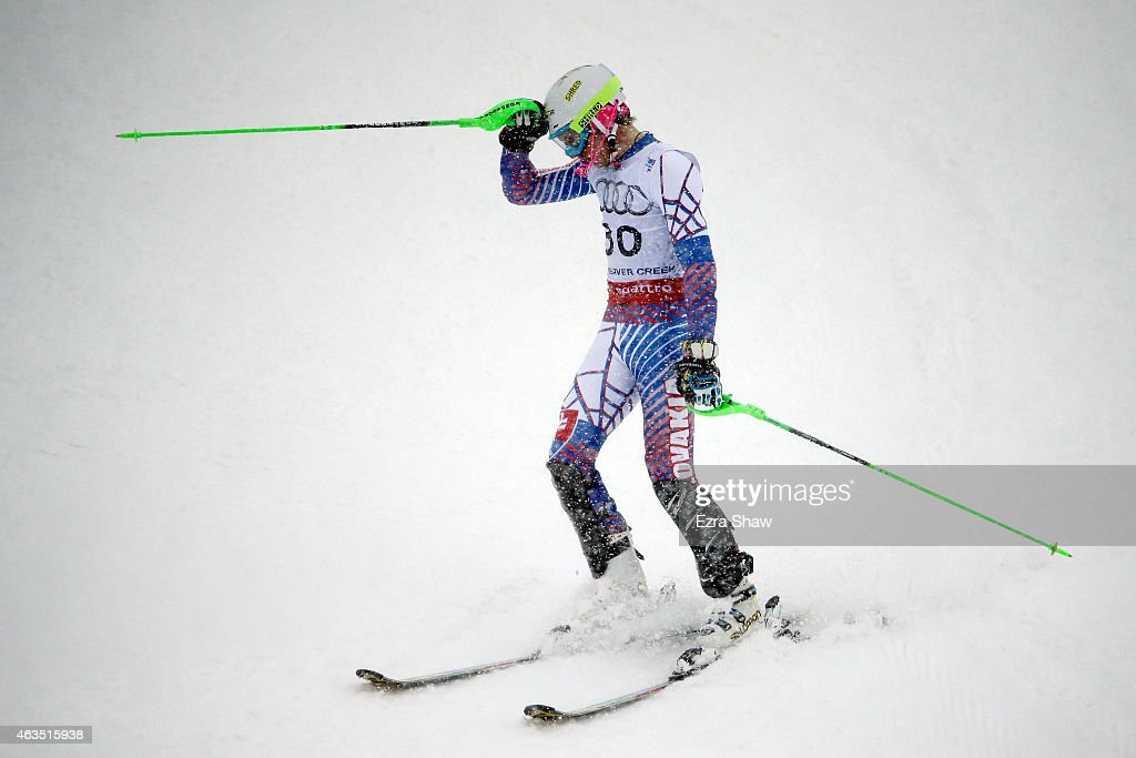 Adam Zampa of Slovakia reacts during the Men's Slalom on the Birds of Prey racecourse on Day 14 of the 2015 FIS Alpine World Ski Championships on February 15, 2015 in Beaver Creek, Colorado.