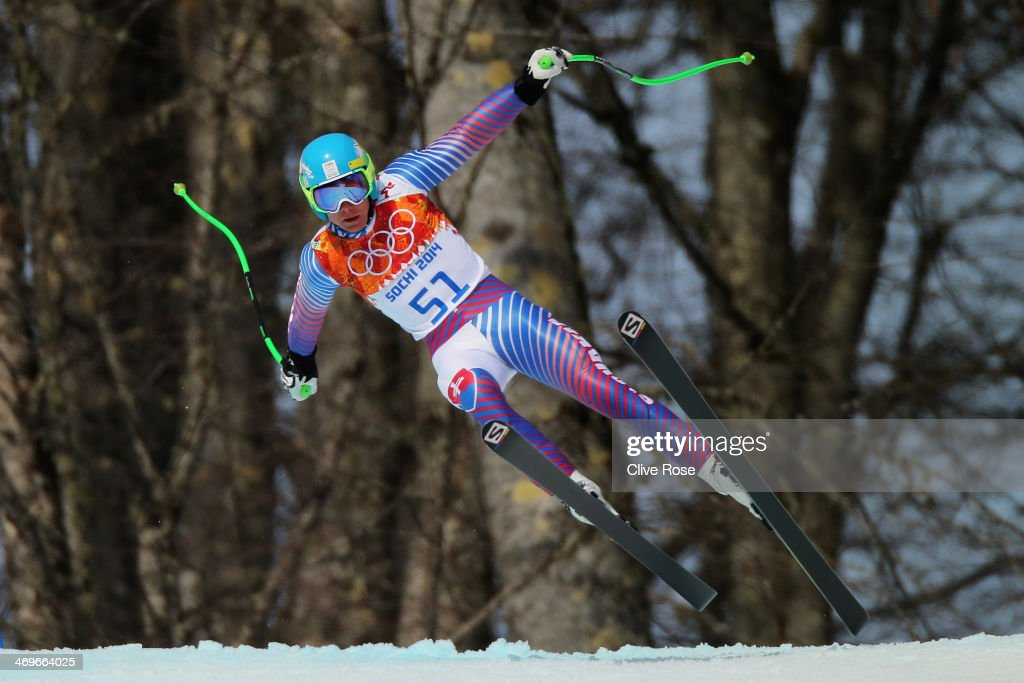 Adam Zampa of Slovakia skis during the Alpine Skiing Men's Super-G on day 9 of the Sochi 2014 Winter Olympics at Rosa Khutor Alpine Center on February 16, 2014 in Sochi, Russia.
