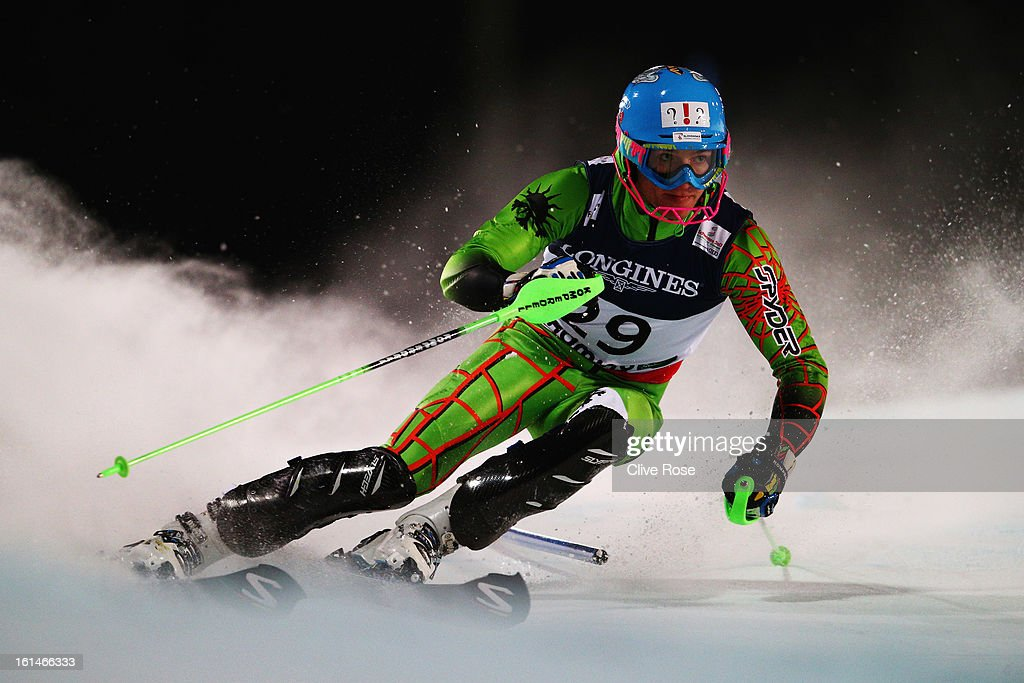 Adam Zampa of Slovakia skis in the slalom section of the Men's Super Combined during the Alpine FIS Ski World Championships on February 11, 2013 in Schladming, Austria.