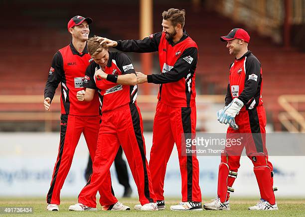 Adam Zampa of South Australia celebrates with team mates after claiming the wicket of Shane Watson of NSW during the Matador BBQs One Day Cup match...