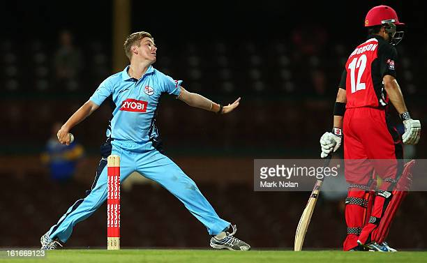 Adam Zampa of the Blues bowls during the Ryobi Cup One Day match between the New South Wales Blues and the South Australian Redbacks at Sydney...