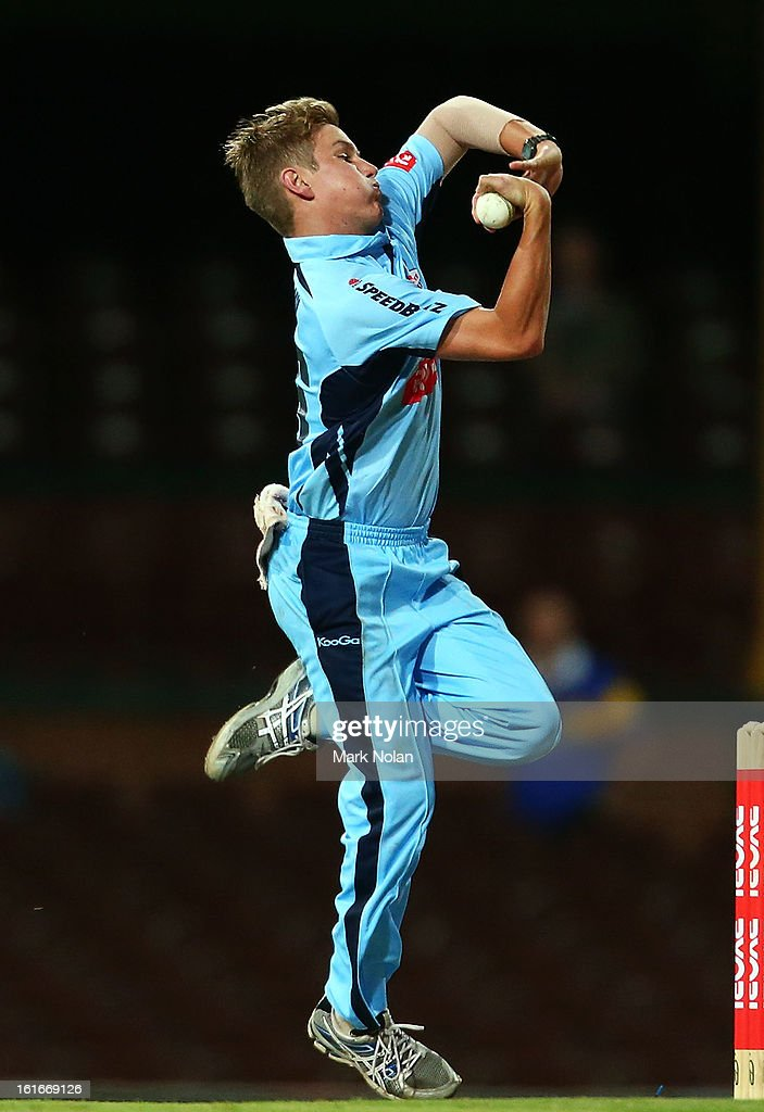 Adam Zampa of the Blues bowls during the Ryobi Cup One Day match between the New South Wales Blues and the South Australian Redbacks at Sydney Cricket Ground on February 14, 2013 in Sydney, Australia.