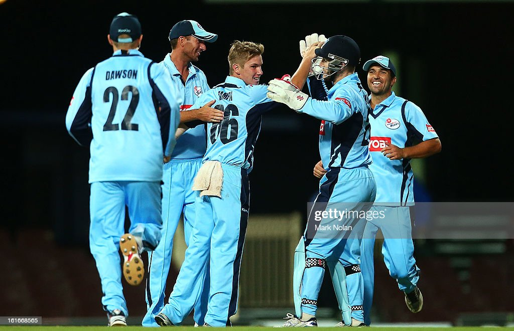 Adam Zampa of the Blues is congratulated after getting the wicket of Daniel Christian of the Redbacks during the Ryobi Cup One Day match between the New South Wales Blues and the South Australian Redbacks at Sydney Cricket Ground on February 14, 2013 in Sydney, Australia.