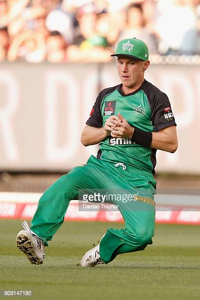 Adam Zampa of the Melbourne Stars takes a catch to dismiss Tom Beaton of the Melbourne Renegades during the Big Bash League match between the...