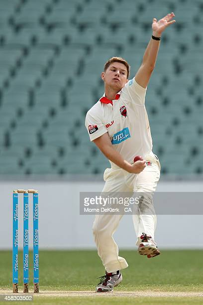Adam Zampa of the Redbacks bowls during day four of the Sheffield Shield match between South Australia and Queensland at Adelaide Oval on November 3...