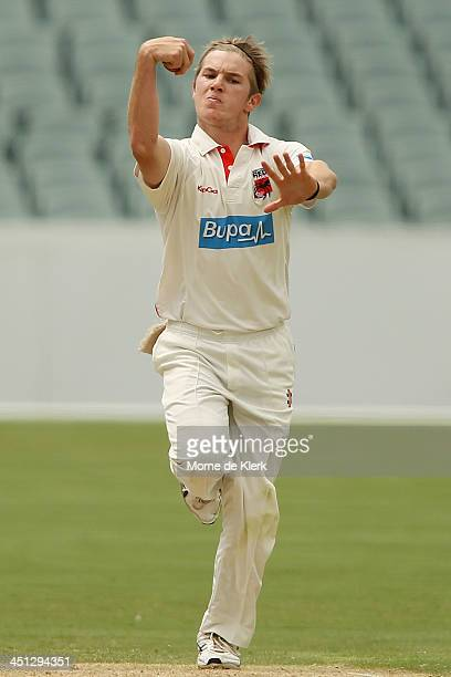 Adam Zampa of the Redbacks bowls during day one of the Sheffield Shield match between the South Australia Redbacks and the Tasmania Tigers at...