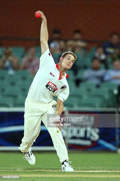 Adam Zampa of the Redbacks bowls during day one of the Sheffield Shield match between South Australia and New South Wales at Adelaide Oval on October...