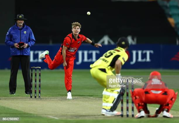 Adam Zampa of the Redbacks bowls during the JLT One Day Cup Final match between Western Australia and South Australia at Blundstone Arena on October...